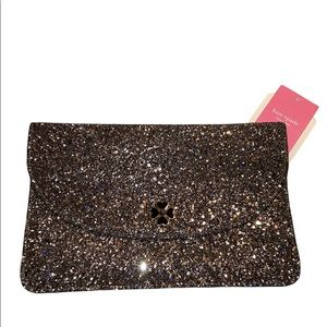 KATE SPADE NEW YORK ODETTE GLITTER LARGE FLAP POUCH